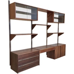 1960s Walnut Floating Wall Unit