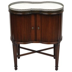 Marble Top French Louis XVI Maison Jansen Style Bombe Cabinet Side Table
