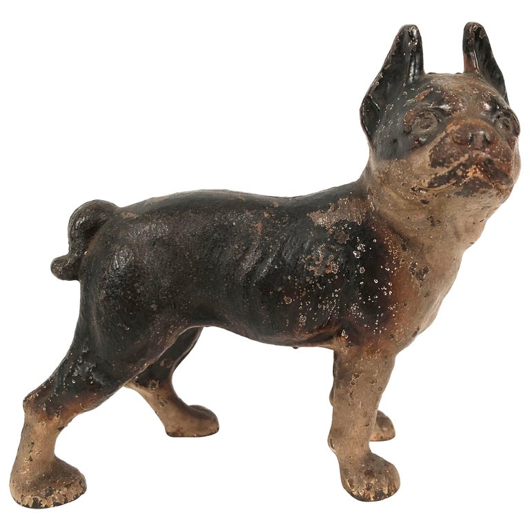 Small Boston Terrier Painted Cast Iron Coin Bank For Sale