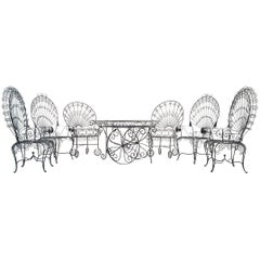 Set of Salterini Peacock Chairs and Bar-Tea Cart