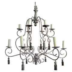 Twelve-Light French Painted Chandelier with Tassels