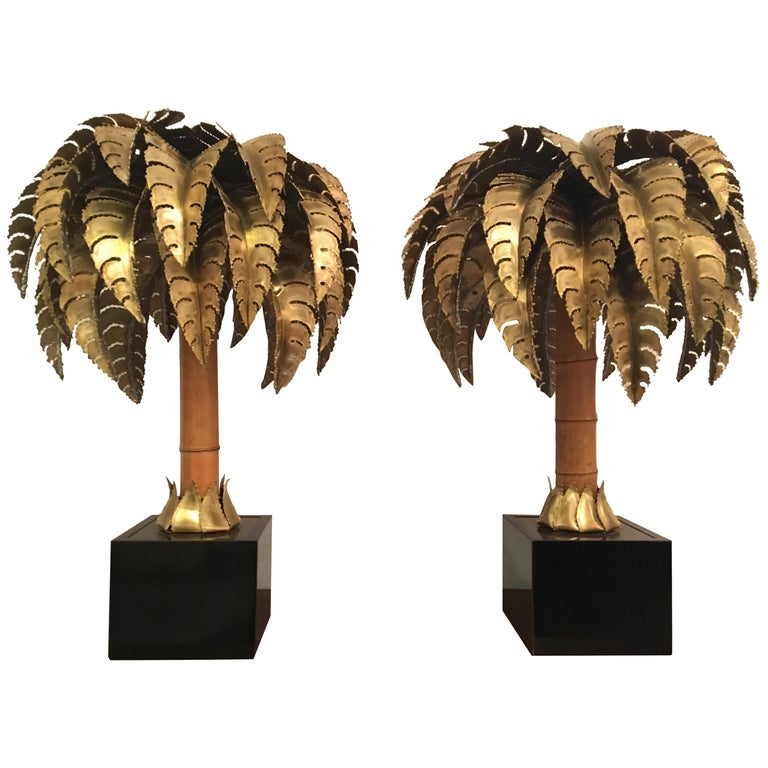 Pair of Palm Tree Table Lamp by Maison Jansen