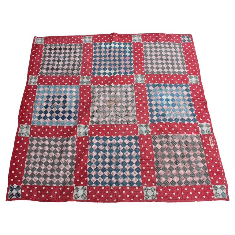 Antique Quilt, 19th Century Contained Postage Stamp Quilt