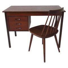 Smaller Danish Teak Desk and Chair in the Style of Karl-ErikEkselius