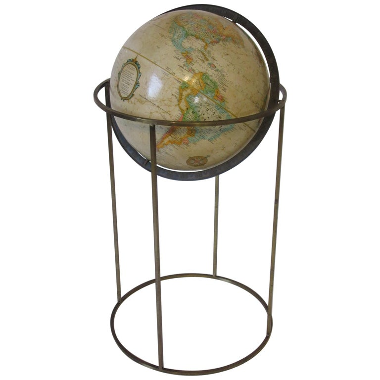 Replogle Globe with Brass Stand in the Manner of McCobb