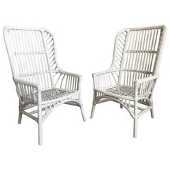 Pair of Vintage Ficks Reed Rattan High Back Chairs