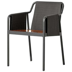Minimalist Outdoor Armchair in Metal and Hardwood
