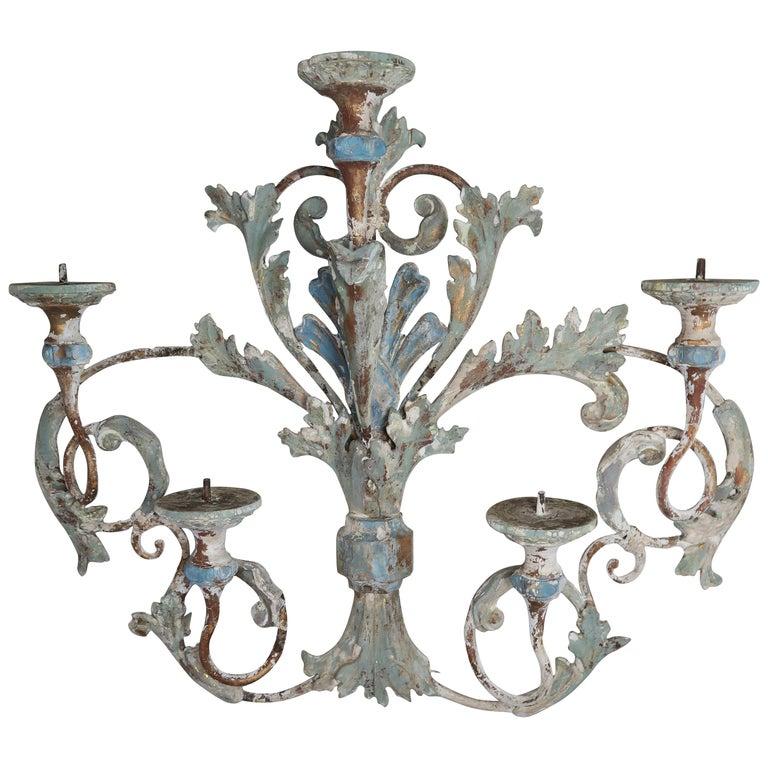 19th Century French Wood and Iron Painted Carving