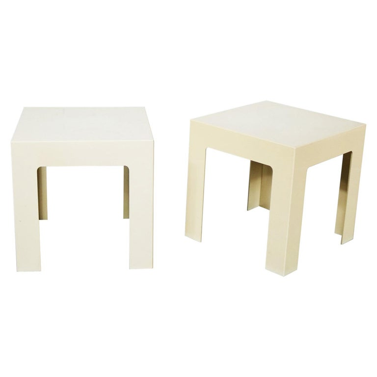 Pair of Plastic Parsons Side Tables White Style Kartell or Syroco, Midcentury