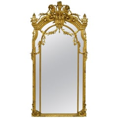 French Giltwood and Gesso Mirror, 19th Century