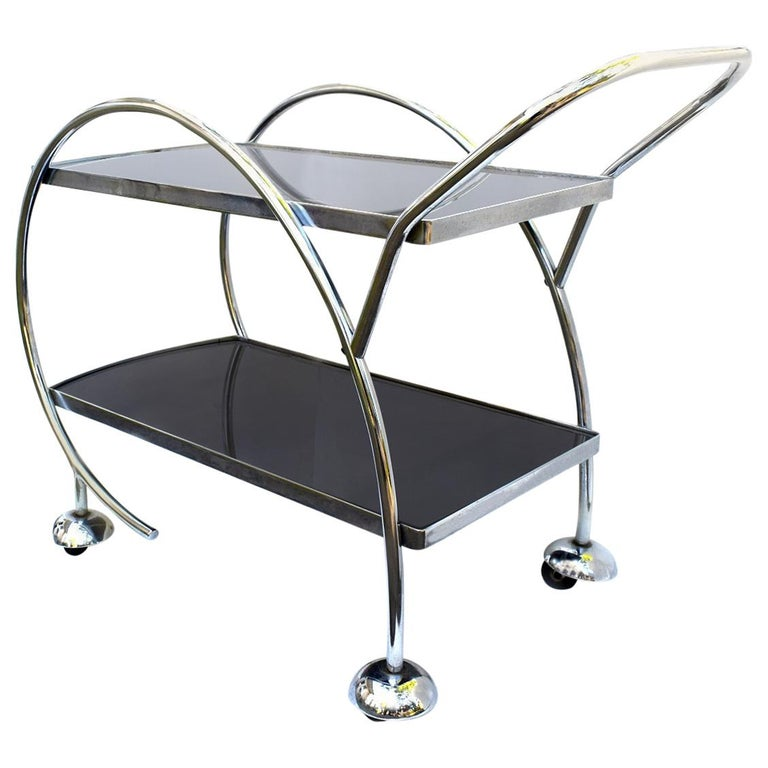 1930s Streamline Art Deco Chrome and Glass Hostess Trolley Bar Cart