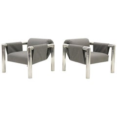 Pair of Lounge Chairs with Arms by John Mascheroni, New Maharam Upholstery