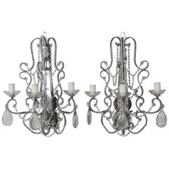 Crystal Beaded 3-Light Mirrored Sconces, Pair