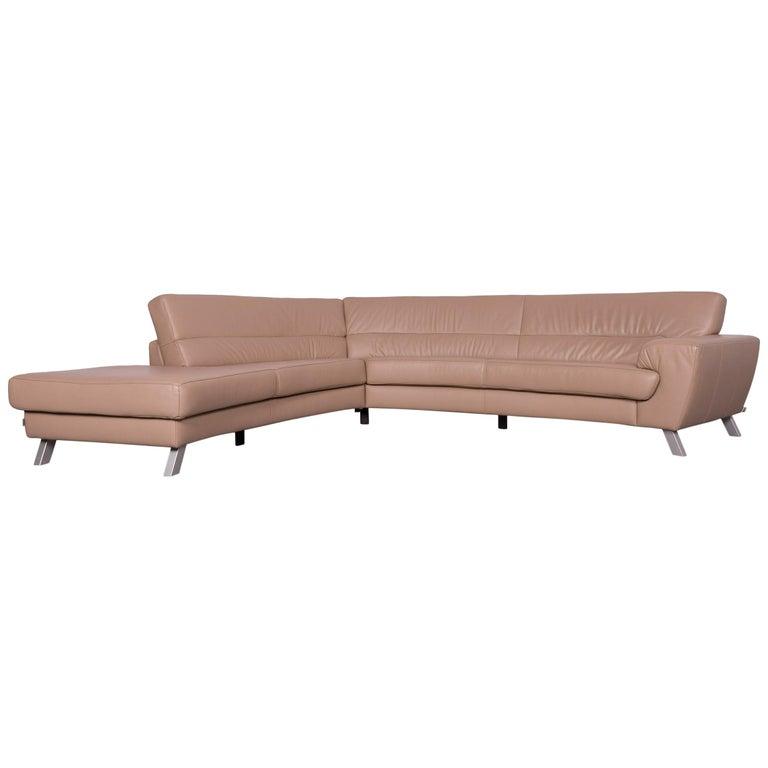 Ewald Schillig Designer Leather Sofa Beige Corner-Couch