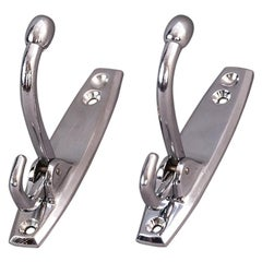 Two Small Art Deco Nickel Coat Hooks Foldable