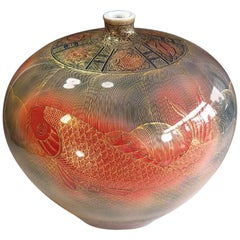 Contemporary Gilded Red Blue Large Porcelain Vase by Master Artist