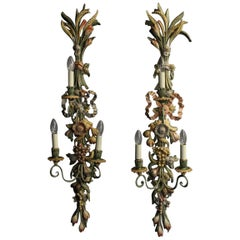 Italian Large Pair of Polychrome Triple Arm Wall Lights