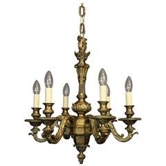 English 19th Century Gilded Bronze 6-Light Chandelier
