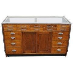 British Mahogany Haberdashery Cabinet or Shop Counter, 1930s