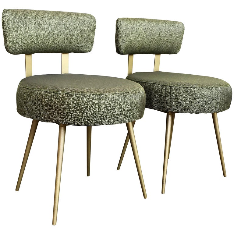 Midcentury Pair of Green and Gilded Round Stools with Back