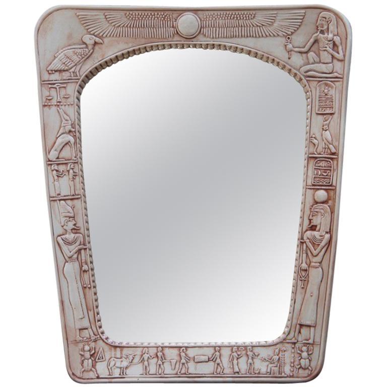 Tutankhamon Egyptian Mirror Porcelain Animal Sphinxes Scarabs, Midcentury
