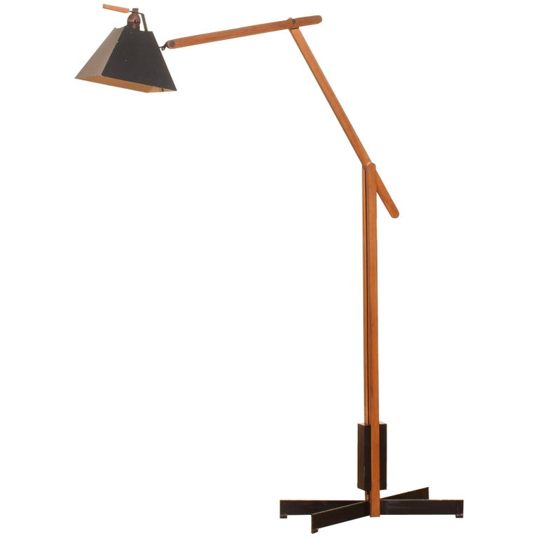 1950s, Very Rare Teak and Metal Floor Lamp by Luxus
