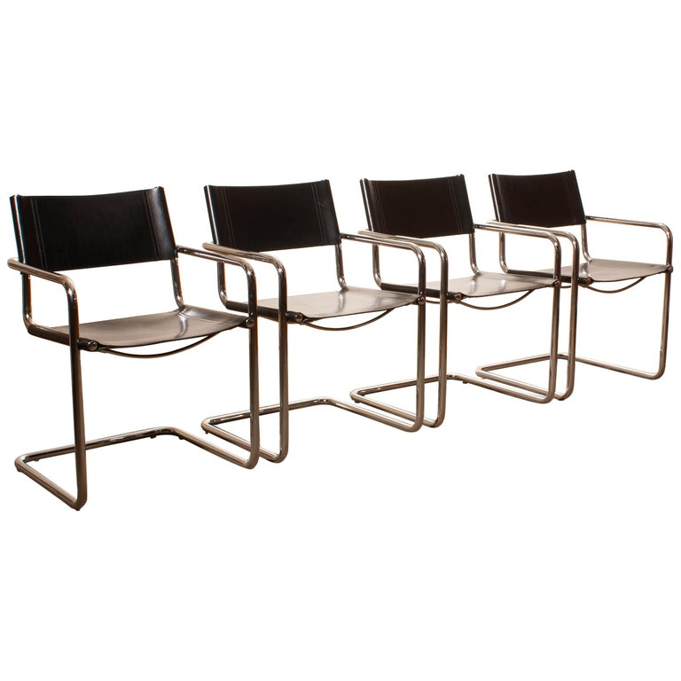 1970s, 4 Tubular Steel and Sturdy Black Leather Dining Chairs by Matteo Grassi