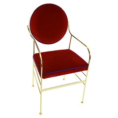 Luigina Gold Red Velvet Chair Made in Italy