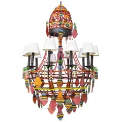 Chandelier with Striped Prisms