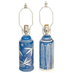 Pair of Waylande Gregory Blue Ceramic Lamps