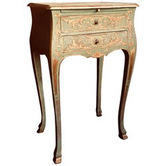 19th Century French Hand-Painted Carved Side Table or Nightstand Louis XV Style