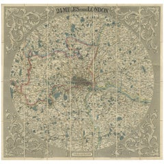 Antique Map of the London Region by G.F. Cruchley, 1838
