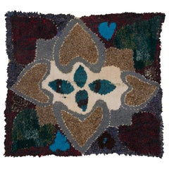 Moroccan Berber Vintage Handmade Tapestry Blue Burgundy Green Grey Beige