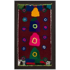 Moroccan Berber Vintage Handmade Tapestry Bright and Dark Wool Colors