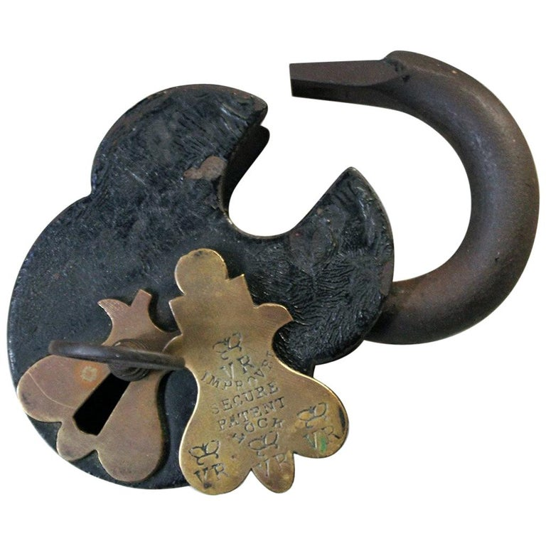 Very Large Victorian Steel Padlock and Key, circa 1870