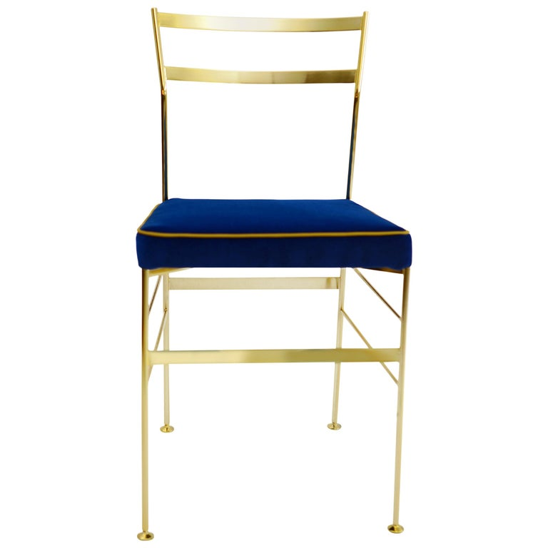 Pontina Gold Blue Chair in Iron and Indian Cotton Fabric, Made in Italy