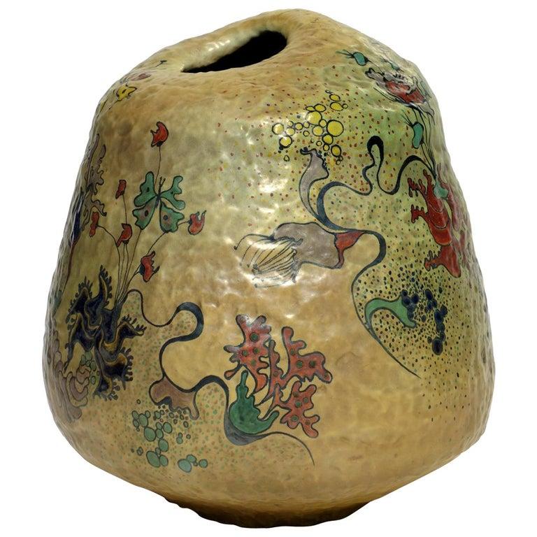 1970s by Giacomo Onestini Italian Pottery Big Sculpture Vase