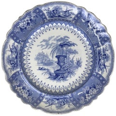 1830s English Blue and White Thomas Mayer Stoneware Canova Pattern Dinner Plate