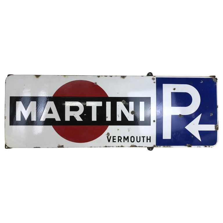 1950s Vintage Enamel Metal Belgian Advertising Martini Sign with Parking Signal For Sale
