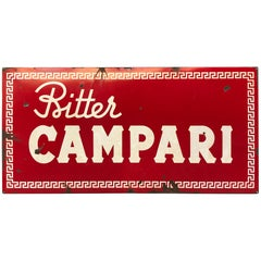1960s Red Enamel Metal Vintage Italian Bitter Campari Sign