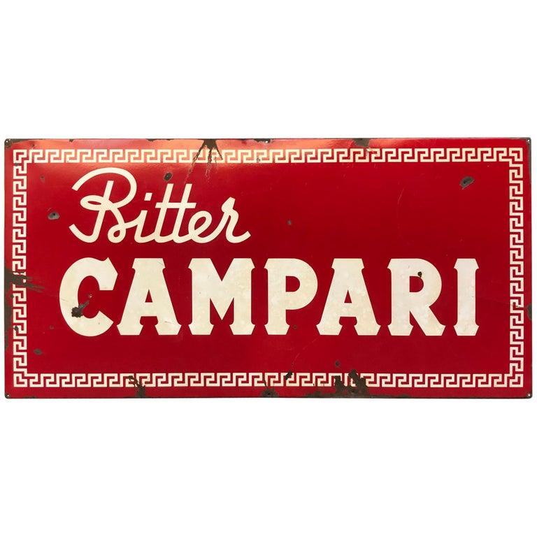 1960s Red Enamel Metal Vintage Italian Bitter Campari Sign