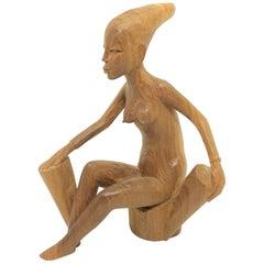 Jahrhundertmitte Moderne Holzschnitzerei Nackte Afrikanische Frau 1950er Stil Dänischen Designs