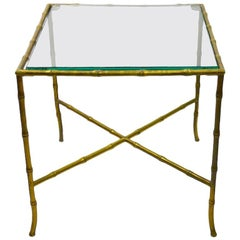 Brass Faux Bamboo Table Made in Italy after Maison Jansen