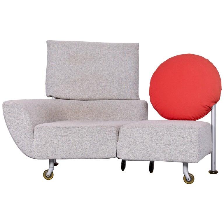 Cassina Topkapi Designer Fabric Sofa Grey Two-Seat Couch