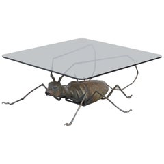Unique Coffee Table with a Handcrafted Metal Cricket Sculpture Base