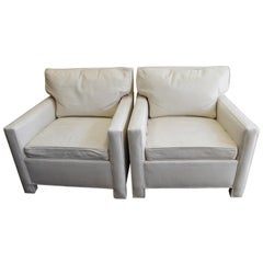Midcentury Club Chairs of White Leather, Sold as a Pair