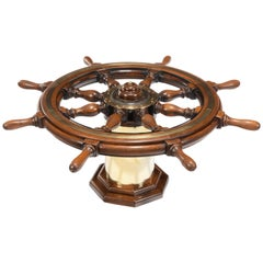 Late Victorian Teak Steering Wheel