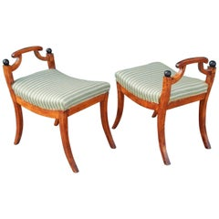 Pair of Swedish Biedermeier Revival Benches or Foot Stools, 1920s