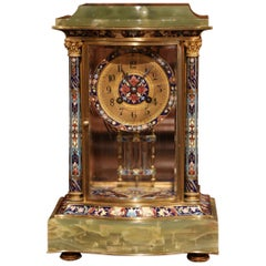 19th Century French Green Onyx Gilt Bronze and Champleve Enamel Table Clock