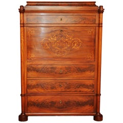 Secretaire Biedermeier Inlaid in Light Mahogany and Elm of Danish Origin, 1825